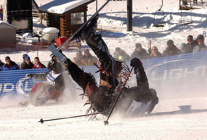 Expect to see some spills when dozens of professional rodeo cowboys take to the slopes of the Steamboat Ski Area on Tuesday for the 34th annual Cowboy Downhill.