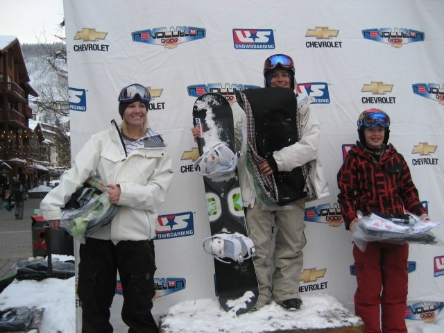 Steamboat Springs Winter Sports Club riders Ariel Tredway, left, and Madeline Schaffrick, right, took third place and second place, respectively, behind winner Ellen Feldman of Avon at Tuesday's halfpipe event at the Chevrolet Revolution Tour in Copper Mountain.