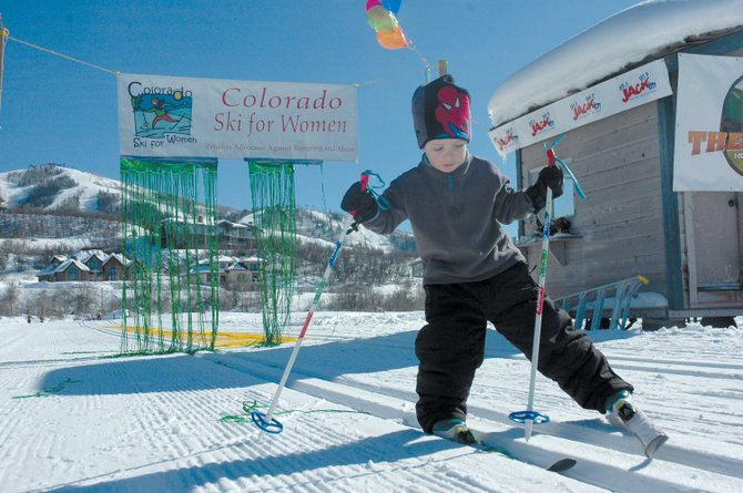 Tommy Mewborn, then 3, gets his skis on track during last year&#39;s Colorado Ski for Women event at the Steamboat Ski Touring Center. Tommy completed a 5-kilometer course to help raise funds for Advocates Against Battering and Abuse, which hosts this year&#39;s event - its seventh annual - Sunday at the touring center.