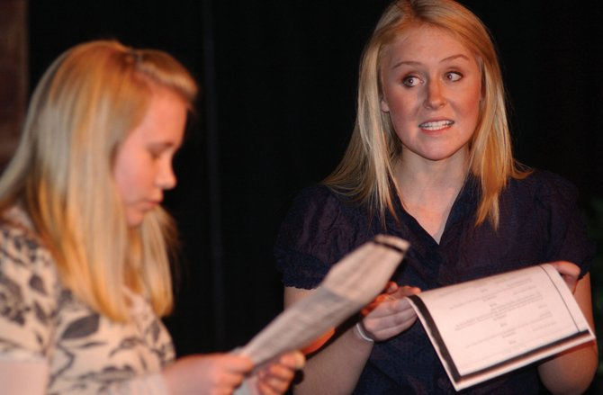 "Steamboat Springs High School senior Rachel Ivancie, right, and junior Haley O'Brien audition for parts in ""The Full Monty"" on Tuesday night at Steamboat Mountain Theater. ""The Full Monty"" is scheduled to be the theater's final production before it is demolished in the upcoming overhaul of Ski Time Square."