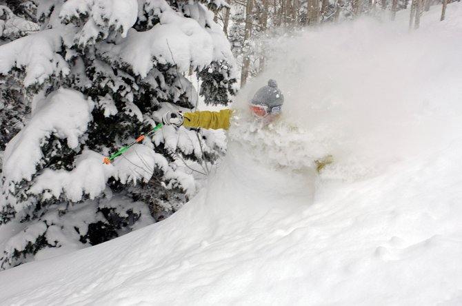 Steamboat Springs local Joe Kelly plows through chest-deep snow Friday at the Steamboat Ski Area.