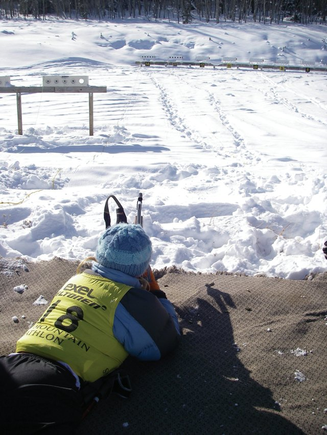 Steamboat Springs biathlete Emily Hannah shoots 50-meter targets with a .22-caliber rifle at a Colorado Biathlon Club race at Snow Mountain Ranch on Dec. 17, 2007.