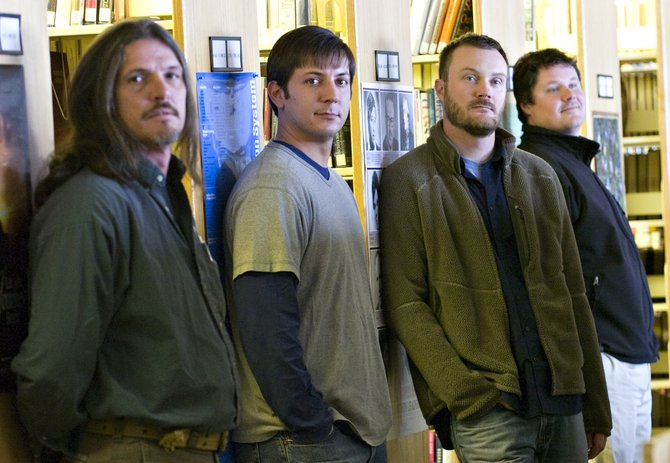 """Jebus"" band members, from left, Russell Funke, Kevin Williams, David Willis and Brett Johnson, are photographed in the library at Colorado Mountain College in Steamboat Springs on Wednesday."