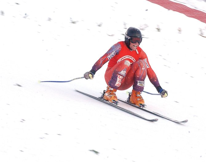 Rolf Wilson of Bozeman, Mont., participates in the Alpine Ski Flying Championship on Sunday at Howelsen Hill. Wilson tied his world record jump of 111.5 meters. 
