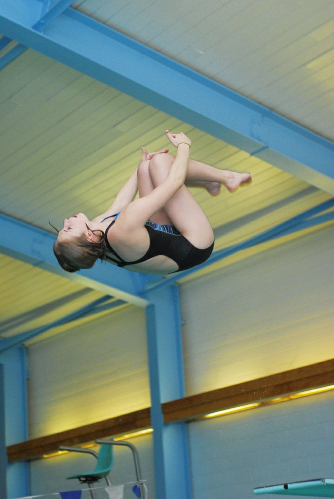Genna Bradley, a Steamboat Springs diver who competes for Moffat County High School, competes at a meet earlier this season. Bradley won the 1-meter diving competition at last week&#39;s Western Regional Championships, and will compete at the state meet this weekend in Fort Collins.