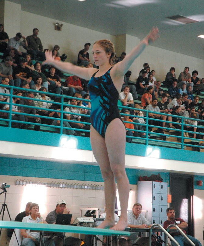 Steamboat resident and Moffat County swim team diver Genevieve Bradley prepares to dive Saturday in the 4A state championships. Bradley finished seventh after entering the event ranked 28th.