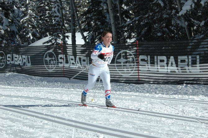 Steamboat Springs Winter Sports Club skier Sophie Leonard finishes third in her division at the final Rocky Mountain Nordic junior Olympic qualifying race of the season Saturday at the Durango Nordic Center.