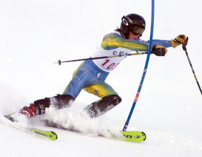 Steamboat Springs High School skier Kris Allen competes in the state high school Alpine skiing championship race at Howelsen Hill in Steamboat Springs on Thursday. 