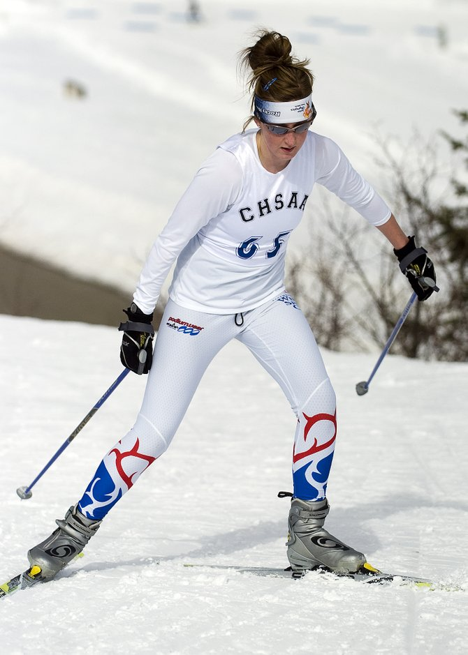 Steamboat Springs High School skier Melissa Krause competes in the state high school cross-country skiing championship race at Howelsen Hill in Steamboat Springs, CO on Thursday, February 21, 2008.