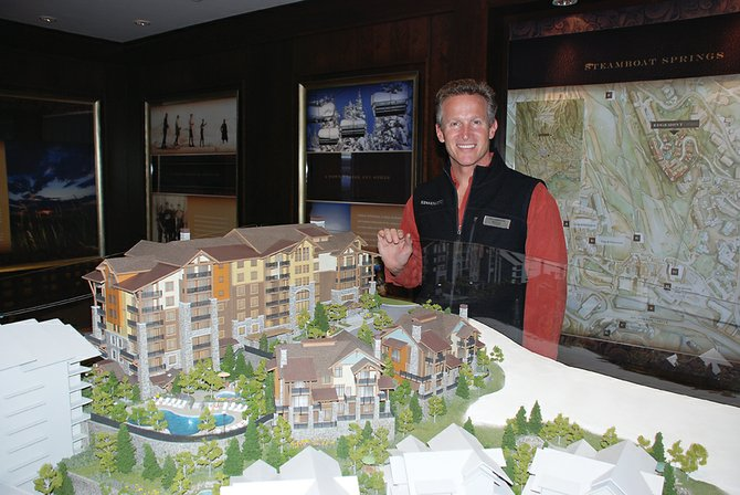 Sales director Mark Murrell invites prospective buyers for the ski-in/ski-out condominiums in Edgemont Ridge to visit the new sales center in the Steamboat Grand Resort Hotel.
