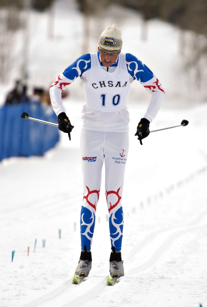 Steamboat Springs High School skier Kyle Steitz competes in the state high school classic cross-country skiing championship race at Howelsen Hill in Steamboat Springs on Friday.
