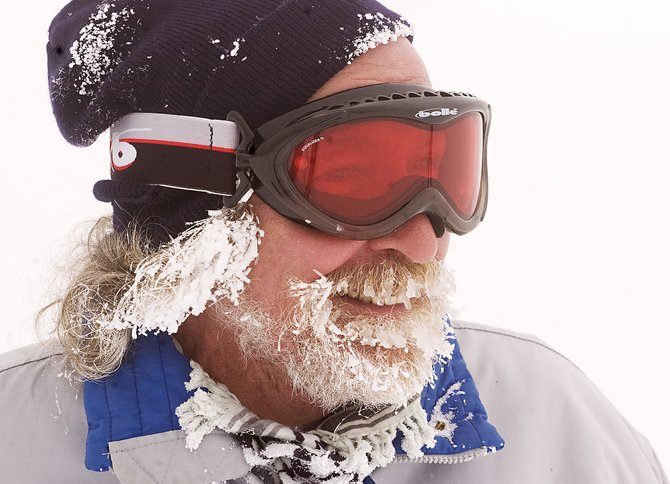 With snow and ice frozen in his beard, Ed Urbanski checks the snow conditions on the High Noon trail at the Steamboat Ski Area on Tuesday afternoon. The ski area recorded 399 inches of snow at mid-mountain as of 5 a.m. Tuesday morning.