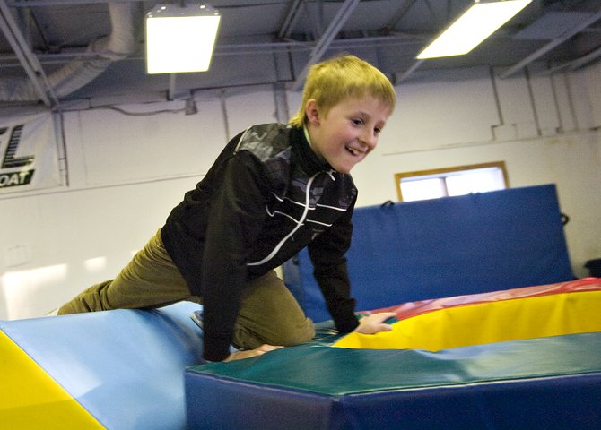 Raleigh Darcy plays at Excel Gymnastics of Steamboat on Jan. 26 during his birthday party. Darcy is one of several local children who have solicited donations for charitable causes in lieu of accepting presents at their parties.