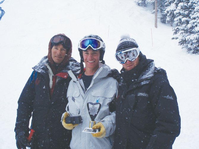 Steamboat Springs Winter Sports Club coach Timmy Meagher, left, Ryan Dyer and coach Nate Bird show off Dyer&#39;s Rocky Mountain Division overall dual moguls trophy last weekend in Telluride. Dyer will be one of 24 Steamboat athletes competing in this year&#39;s Freestyle Junior Olympics at the Steamboat Ski Area. 