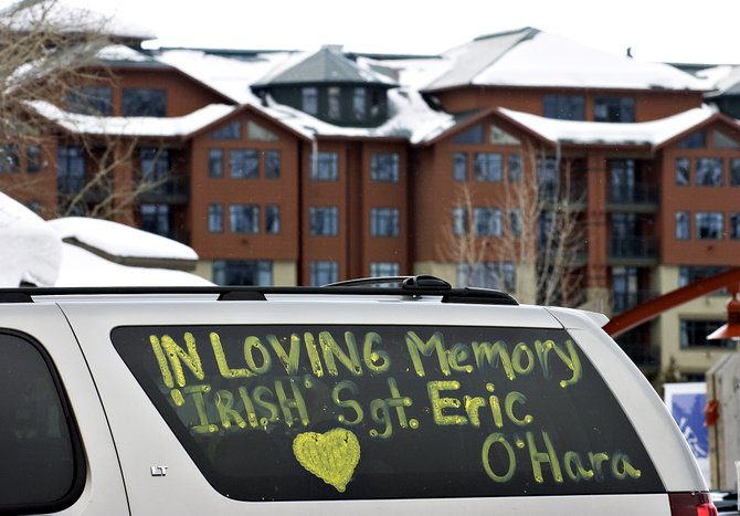 A car decorated with messages in memory of Eric O'Hara sits in Ski Time Square near the Steamboat Grand Resort Hotel on Wednesday. Services for O'Hara were held at the nearby Sheraton Steamboat Resort. O'Hara, 24, a U.S. Army veteran, died in a Feb. 28 snow removal accident at the Grand.