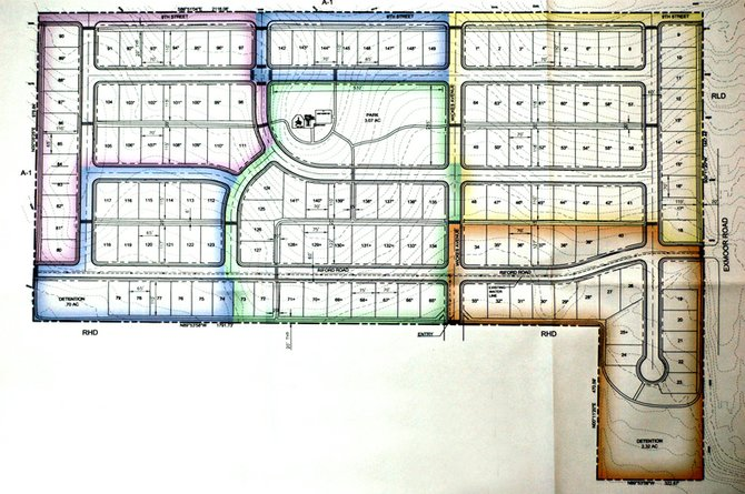 The largest Craig project is Western Skies, a collection of 149 single-family homes west of Ridgeview and north of Columbine Apartments being developed by Western Skies LLC. Different colors represent different construction phases. The orange section is the first construction phase, which has 22 home lots. Green is the second phase that expands the eventual neighborhood with 27 homes and a three-acre park. Yellow is the third phase. Purple is fourth phase, and blue is fifth phase.