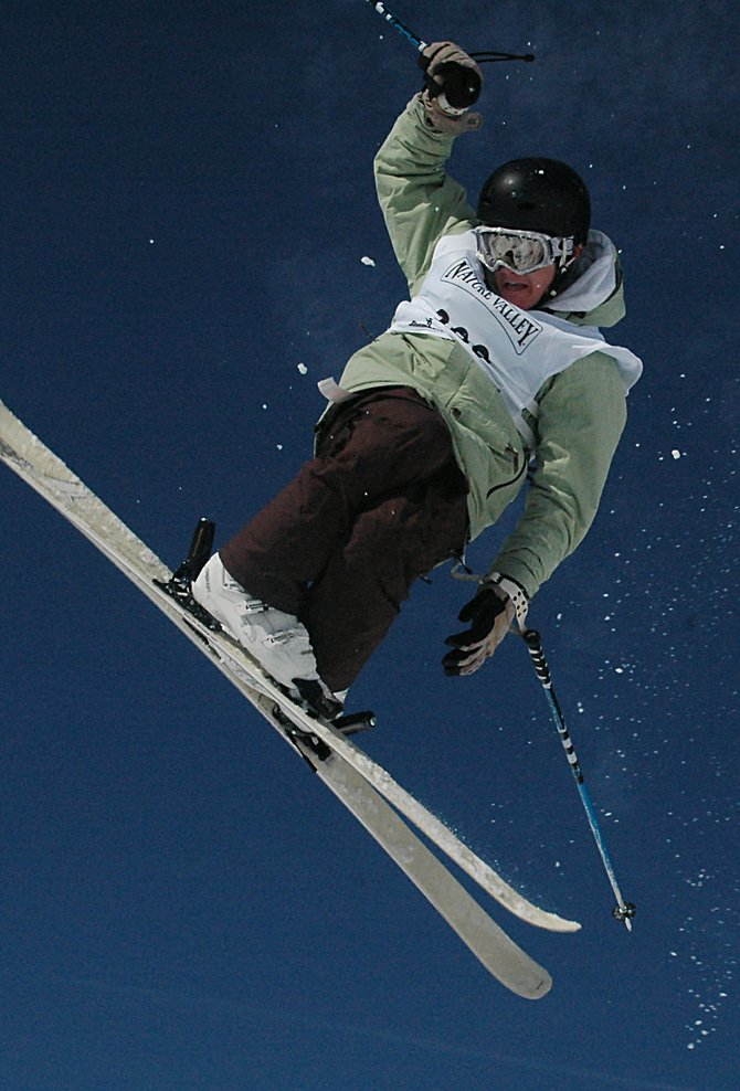 Steamboat skier Dalton Lee soars off the second jump Friday in the Junior Olympics single moguls competition. Lee was one of four Steamboat participants to advance to the finals, and he went on to finish ninth on the boys side.