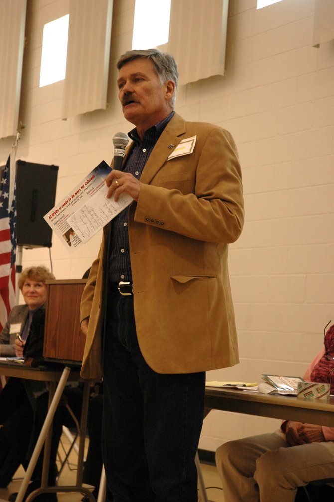Rep. Al White, R-Hayden, speaks about his state senate campaign Saturday at the Routt County Republicans' County Assembly.