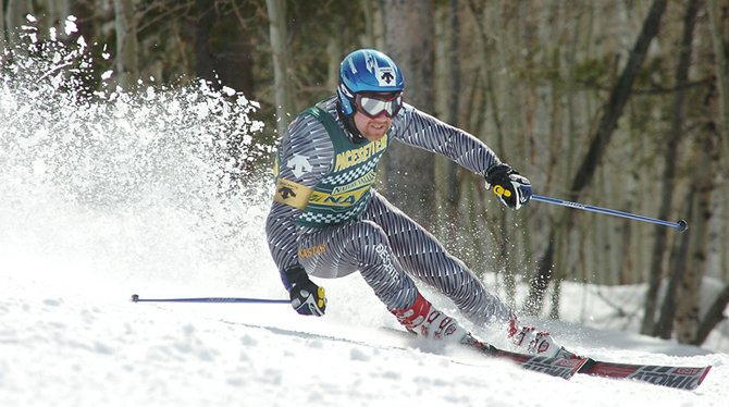 Olympic ski racer AJ Kitt races at the NASTAR National Championships in Steamboat Springs a few years ago. Kitt and several other big-name skiers are expected to be the pacesetters for this year's championships. Racing begins Friday.