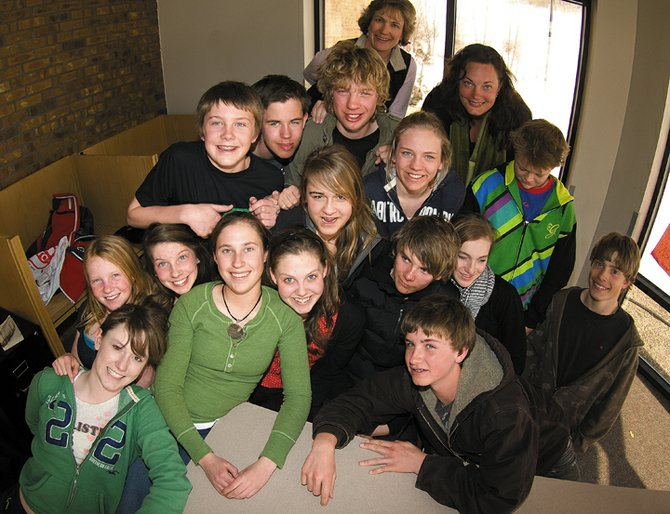 The Sweden-Steamboat connection includes 16 students and two teachers from Sweden and the U.S. Pictured are Meghan Rabbitt, Steamboat; Emily Hannah, Steamboat; Ingrid Randell, Sweden; Martha Anderson, Steamboat; Jake Miller, Steamboat; Hugo Blomquist, Sweden; Viking Bjrk Fristrom, Sweden; teacher Sally Howard, Steamboat; teacher Marie Backlund, Sweden; Sam Harrelson, Steamboat; Brandon Krentz, Steamboat; John Wharton, Steamboat; Sara von Sydow, Sweden; Mallory Richey, Steamboat; Linnea Jonsson, Sweden; Johanna Tysell, Sweden; and Daniel Wessberger, Sweden. Tobias Laine, Sweden, is not pictured.