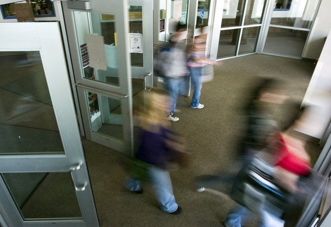 Students flood through the front doors of Steamboat Springs High School after classes are dismissed on Wednesday afternoon. A school safety task force was formed Tuesday to coordinate preparedness plans for Routt County schools.