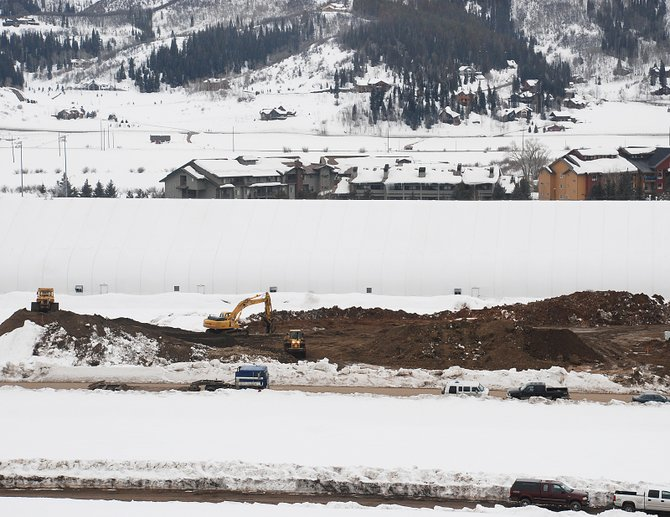Site preparation is under way at the First Tracks affordable housing development in Wildhorse Meadows. The development represents the bulk of building permits issued in February.