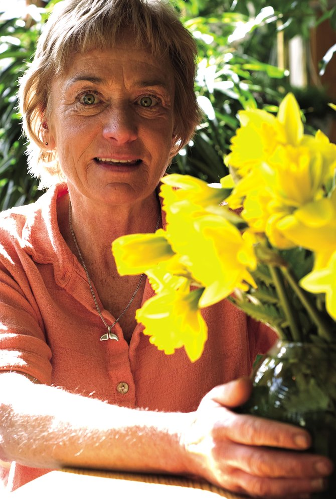 Susanne Kane Bostrom is photographed with a vase of daffodils in the atrium at Alpine Floral in Steamboat Springs on Friday afternoon. Bostrom, owner of Alpine Floral, helps organize the daffodil sale each year as a fundraiser for hospice care.