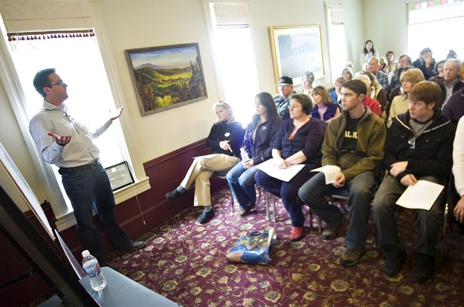 Steamboat 700 Project Manager Danny Mulcahy, left, addresses housing and traffic concerns related to the proposed development west of Steamboat Springs during a talk hosted by Colorado Group Realty at the Tread of Pioneers Museum on Tuesday afternoon.