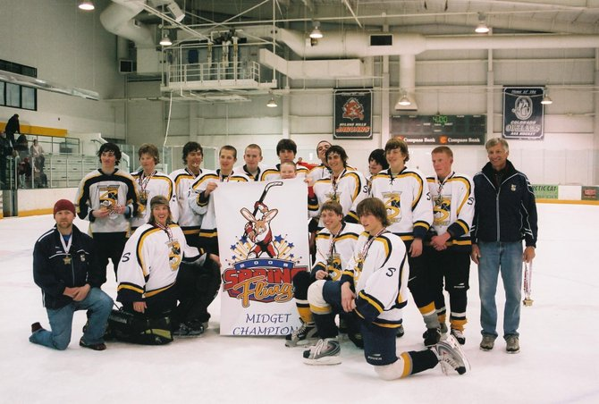 The Steamboat Springs Midget Major A team celebrates after winning the Spring Fling Tournament in Westminster. Steamboat went 5-0 in the tournament, outscoring its opponents, 25-6. 