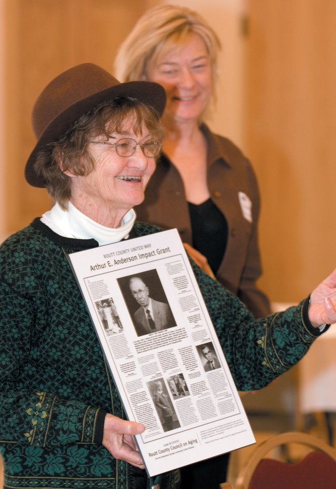 Catherine Lykken, a friend of Arthur E. Anderson, was on hand when the first Arthur E. Anderson Impact Grant was awarded to the Routt County Council on Aging on Friday night at the city's new community center.