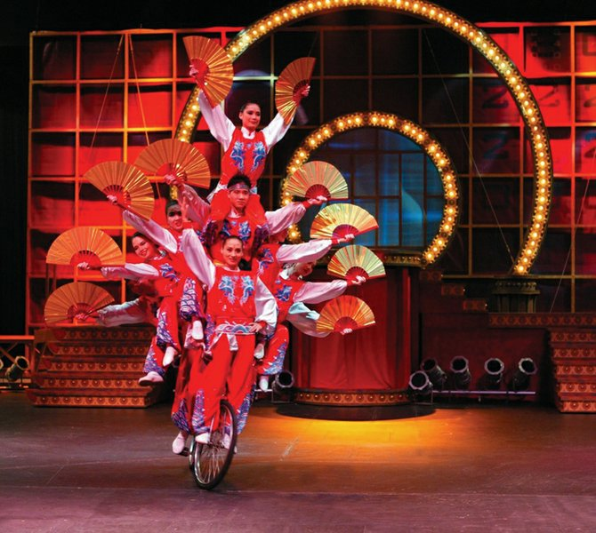 Golden Dragon Acrobats, a Chinese troupe with a show similar to Cirque du Soleil, closes the Strings season.