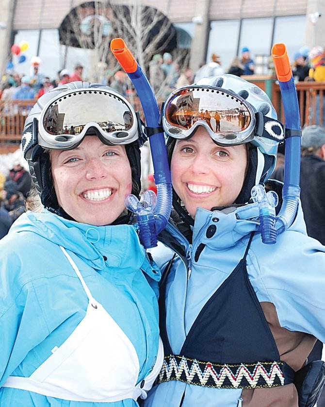 Powder snorkels made sense for much of the record breaking 2007-08 ski season, but Kara Givnish and Kyleigh DeMicco may have had a beach in mind during the Susan Tedeschi concert Sunday.