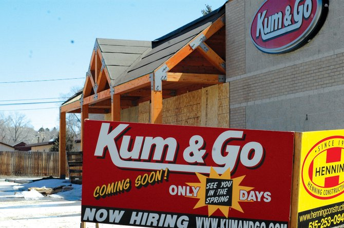 The Kum & Go at 895 Yampa Ave. may not open until mid-summer, Colorado Department of Transportation officials estimated. CDOT is requiring Kum & Go renovate Yampa Avenue before opening.