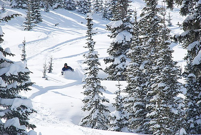 Tom Heilner revels in the rare April powder that blanketed Buffalo Pass late last week. The nearly mid-winter snow conditions held up until early Saturday afternoon.
