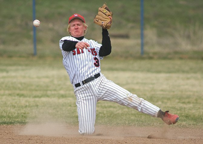 Steamboat Springs Sailors second baseman Michael Lyon makes a throw to first base after collecting a hard-to-handle grounder during the Sailors' loss to Eagle Valley on Wednesday at Moffat County Middle School in Craig.
