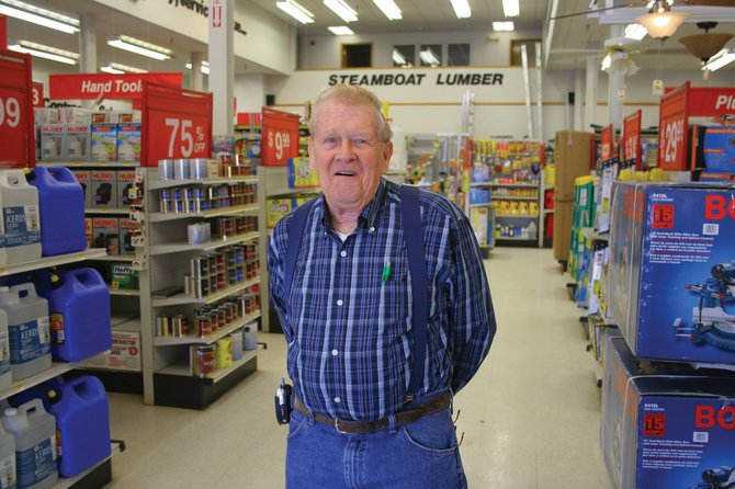Wendell Hicks stands in Steamboat Lumber on Friday. Hicks is celebrating his 45-year anniversary at the store, where he started working when he was 27.