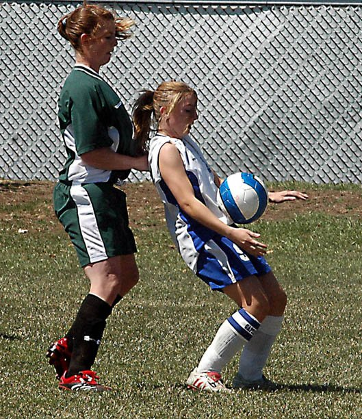 Moffat County High School senior Samantha Erickson gains control of the ball Saturday against visiting Delta. The Bulldogs briefly led the Panthers, 1-0, behind freshman Amanda Brewer's fourth goal, but eventually fell, 6-2.
