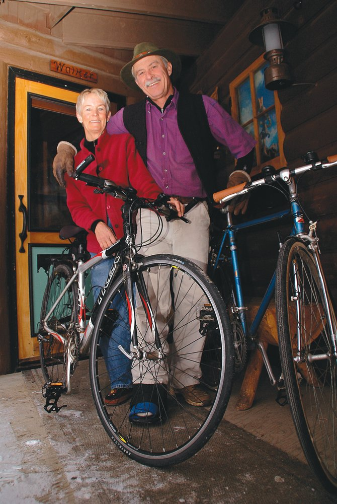 GiGi and Johnny Walker aren't bike enthusiasts in the sense that they pound the local trails or climb the area's mountains. Instead, they rack up hundreds and thousands of miles pedaling to and from the post office, the store, a restaurant or the park. GiGi's bike was purchased several years ago at Steamboat Ski & Bike Kare while Johnny's current town cruiser was new in the 1970s, then retrofitted several years ago at Orange Peel Bicycle Service to better serve its current role.