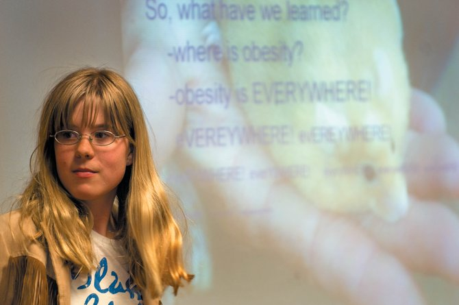 Seventh-grader Erika Kipfer plays her part in a skit that focused on obesity and related health risks for her classmates at Steamboat Springs Middle School on Wednesday.