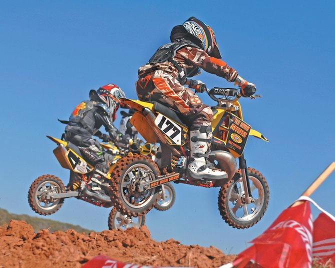 Noah Townsend, 9, races in a competition in January in Texas. He hopes to qualify for the motocross national championships in Hurricane Mills, Tenn.