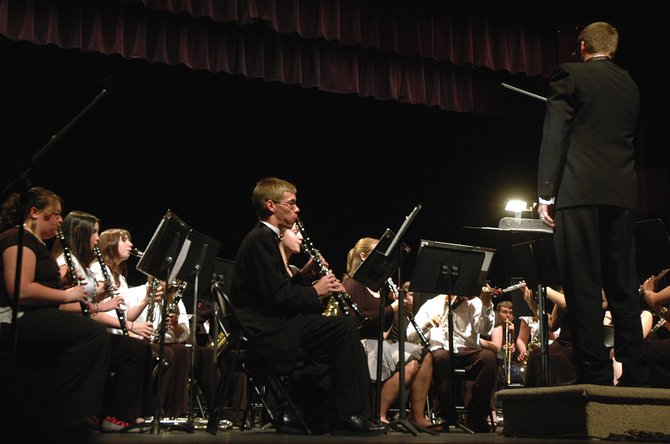 John Bolton, Moffat County High School band director, conducts a concert in May 2007. High school concert and jazz bands, along with seventh- and eighth-grade bands, will perform their final in-house concert at 7 p.m. today in the high school auditorium, 900 Finley Lane.
