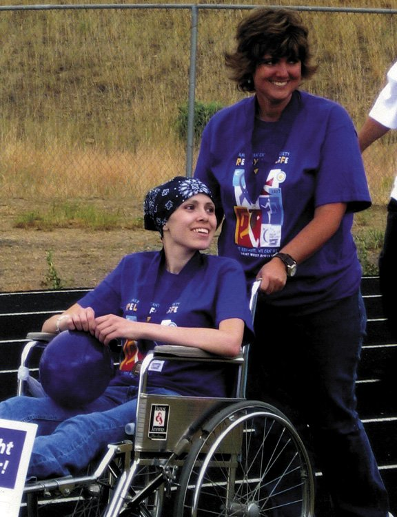 Tanya Bohrer, right, accompanies her niece, Cassie Owens, at the first Relay for Life in Craig in July 2007. Bohrer also spent nights in the hospital with Owens, who died of cancer in September 2007. Bohrer now is battling metastasized melanoma of the liver.