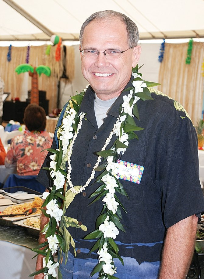 Stan Jensen, the new president of Colorado Mountain College, enjoyed the Alpine Campus faculty luau on Friday.
