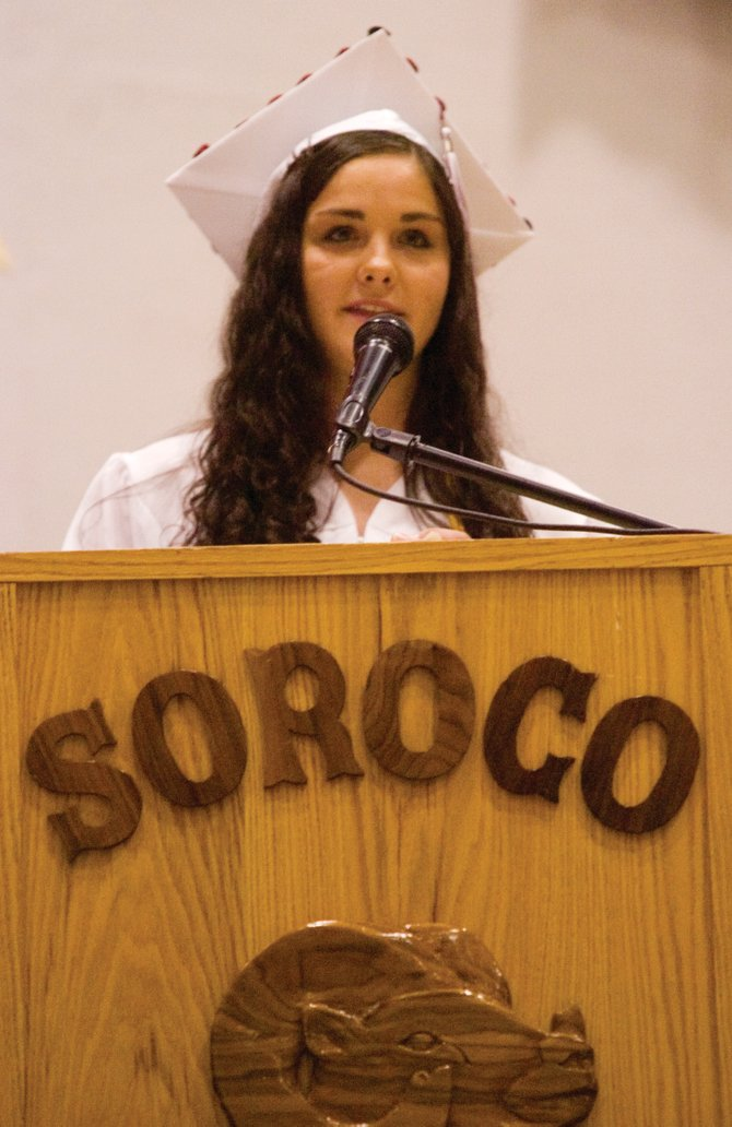 Soroco High School valedictorian Aila Bereznak addresses the audience at the 2007 Soroco High School graduation last May. The class of 2008 has a busy week before graduation Saturday.