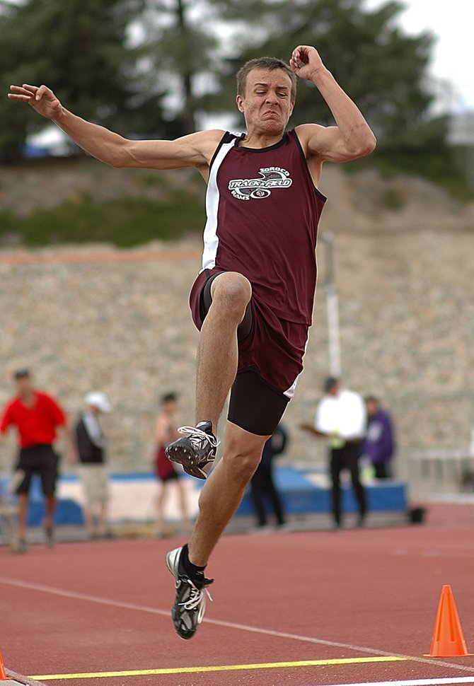 Soroco sophomore Alex Estes takes off for his final leap in the long jump Friday at the state track meet in Pueblo. Estes, competing for the first time at state, finished third in the event.