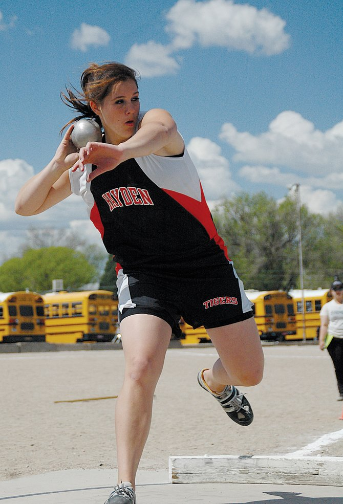 Hayden High School junior Holli Salazar tosses the shot put Saturday at the state track meet in Pueblo. Despite entering with the fourth-best distance, Salazar threw 41 feet, 7 3/4 inches to win the event.
