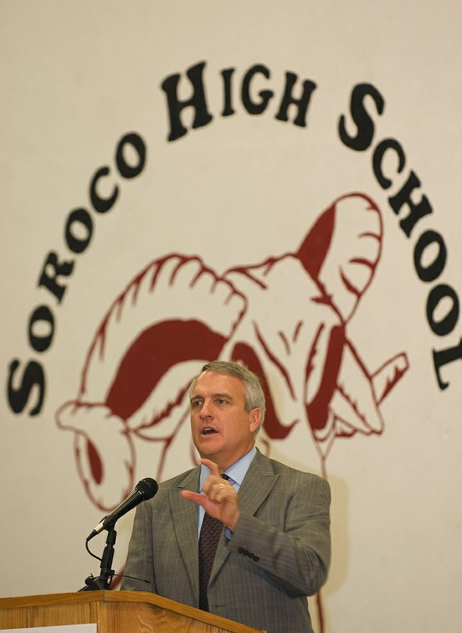 Gov. Bill Ritter addresses South Routt students and community members during an assembly Monday in Oak Creek. Ritter was in town to commend the community for its passage of a ballot initiative that will pay for a renewable energy heating system for South Routt schools.