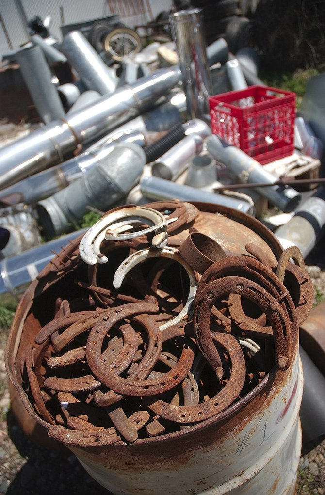 An artist's eye might lead him or her to the variety of horseshoes stored in a barrel at Home ReSource.