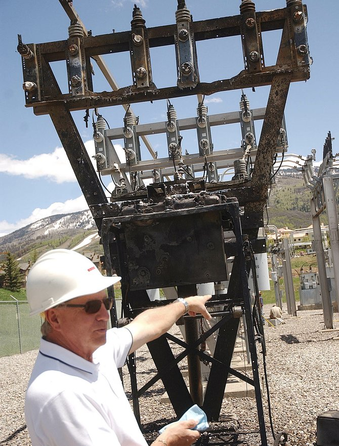 Yampa Valley Electric Association spokesman Jim Chappell describes the damage caused by a fire and explosion that occurred Sunday night at the Mount Werner Substation. YVEA is blaming the incident on a raccoon that got into a piece of equipment.