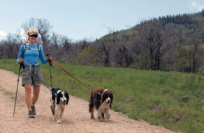 Christine Corzette walks with her dogs Spencer, left, and Bogie on Emerald Mountain on Thursday afternoon.